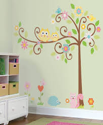 large scroll tree owls wall decal sticker vinyl kids wallpaper mural additional images