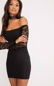 black lace dress larsia black lace sleeve bardot bodycon dress dresses