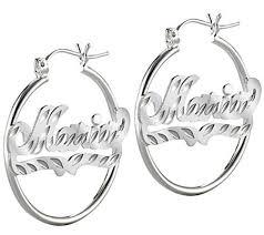 Hoop Earrings With Name Sterling Silver Diamond Cut Hoop Name Earrings U2014 Qvc Com