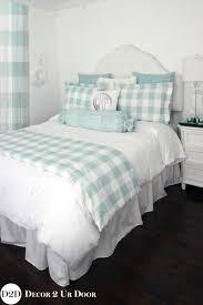 spa blue farmhouse gingham buffalo check designer apartment