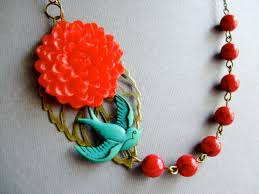 red flower necklace images Statement necklace red flower necklace teal sparrow tattoo jpg