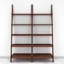 Brown Ladder Shelf Jasper Leaning Wall Bookcase Set Of 2 Ladder Shelf Brown