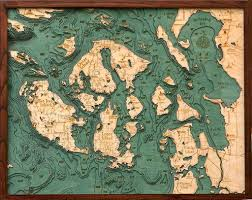 Whidbey Island Map Amazon Com Woodchart San Juan Islands Wood Nautical Chart 24 5 X