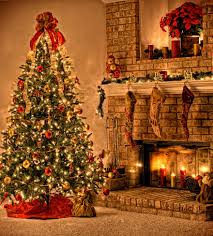 living room home with christmas tree design for holiday
