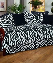 Printed Sofa Slipcovers White Tiger Skin Print Comforter Set Black