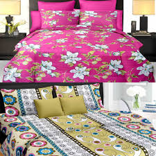 home cortina india cortina cotton set of 2 double bedsheet with 4 pillow cover multicolor