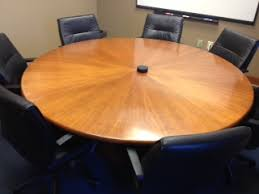 Circle Meeting Table Used Office Conference Tables 6 U0027 Round Cherry Veneer Conference
