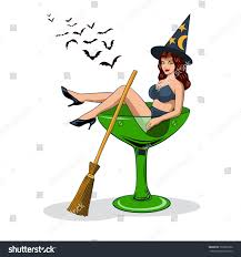 martini halloween halloween party illustration witch sitting stock vector