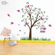 tree bird wall stickers tree with bird cage wall stickers wall stickers