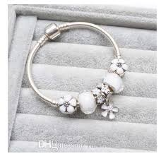 pandora style bracelet diy images 925 sterling silver white murano glass european charm beads flower jpg