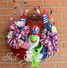 kermit the frog muppet patriotic wreath summer 4th july wreath