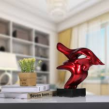 best and cheap red tomfeel dashing bull resin sculpture home decor