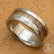 can titanium rings be engraved titanium ring with hawaiian koa wood inlay engraved