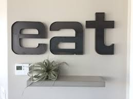 Metal Wall Letters Home Decor Metal Eat Sign Raw Steel U0027eat U0027 Wall Letters Rustic