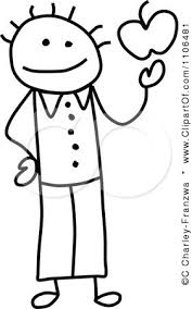 clipart black and white stick drawing of a happy teacher holding