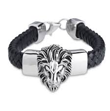 man bracelet online images Lion head black genuine leather stainless steel men 39 s bracelet jpg