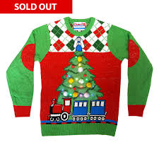 christmas tree sweater with lights tree and train light up christmas jumper unisex cheesy christmas