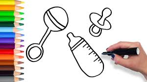 how to draw baby bottle rattle pacifier teach drawing for kids