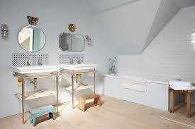 traditional mirrors bathroom shabby chic style with wood bench