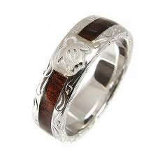 wooden wedding bands hawaiian koa wood wedding band honu turtle 925 silver 6mm