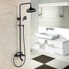 Black Faucets For Bathroom by 2017 Black Brass Rotatable Lifting Shower Set Faucet Dual