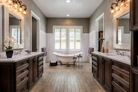 Master Bathroom Design Brown Neutral Wood Cabinets Traditional Master Bathroom With