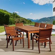 Eucalyptus Outdoor Table by Amazonia Lourdes 9 Piece Eucalyptus Wood Outdoor Dining Set By