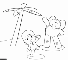 pocoyo elly palm tree printable colouring sheet ecoloringpage