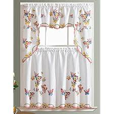Butterfly Lace Curtains Amazon Com Hopewell Lace Kitchen Curtain 36