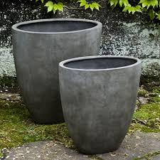 tall lightweight oval indoor outdoor planter concrete grey set