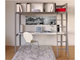 vente unique bureau lit mezzanine giacomo 90x190cm bureau et rangements intégrés gris