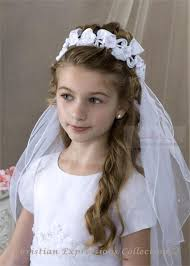 communion veil communion wreath veil with large flowers childrens