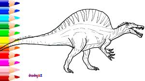 spinosaurus drawing and spinosaurus dinosaur coloring pages for