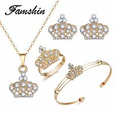 indian bridal jewelry necklace images Famshin 2018 latest gold color crown bridal jewelry set hollow jpg