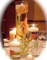 Vases With Flowers And Floating Candles Set Of 4 Cylinder Glass Vases With Calla Lilies And Floating