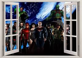wall decals stickers home decor home furniture diy justice league hero 3d window wall sticker lounge bedroom kids boys girls vinyl
