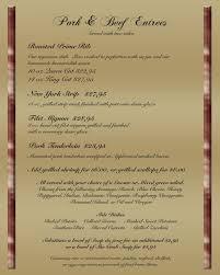 Filet Mignon Menu Menu The Hilltop Club And Restaurant