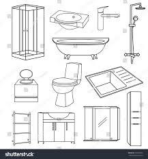 Furniture For The Kitchen Set Transparent Outline Icons Sanitary Ware Stock Vector 399509686