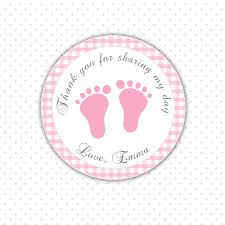 pink gingham thank you tags baby feet custom baby shower
