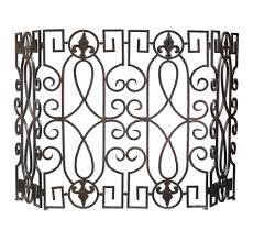 fabulous gold polished wrought iron fireplace screen design