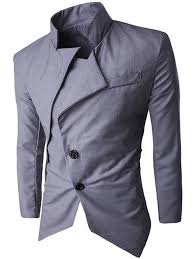 light gray suits for sale 2018 back vent stand collar asymmetrical blazer light gray xl in