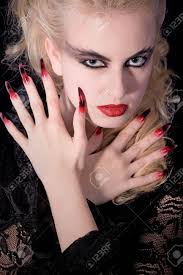 witches model with long airbrush nails stock photo picture and