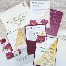 wedding invitation suite watercolor gold burgundy pocket wedding invitation suite