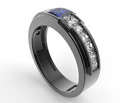 black and blue wedding rings black gold blue sapphire wedding ring for a men vidar jewelry