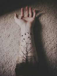 art tree black hand inked tattoo forest bird tattooed artistic