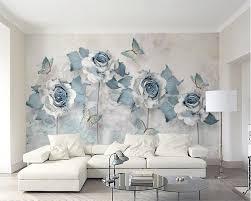 online shop beibehang custom wallpaper blue 3d flower living room