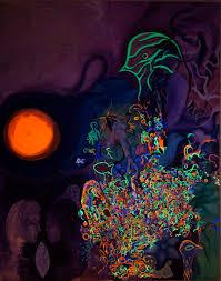 uv light for birds orange sun green bird a floresent acrylic painting by fine artist