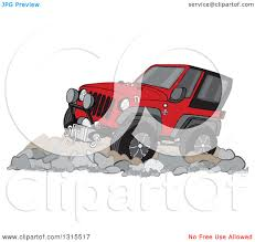 christmas jeep clip art clipart of a cartoon red jeep wrangler suv on rocks royalty free