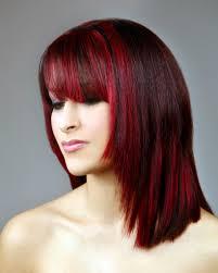 red highlights in black hair women medium haircut