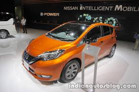 nissan note 2017 nissan note e power front three quarters left side at 2017 tokyo